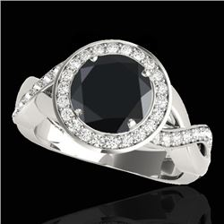 1.75 CTW Certified VS Black Diamond Solitaire Halo Ring 10K White Gold - REF-87R5K - 33270