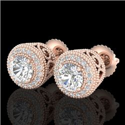 1.55 CTW VS/SI Diamond Solitaire Art Deco Stud Earrings 18K Rose Gold - REF-259W3H - 36963