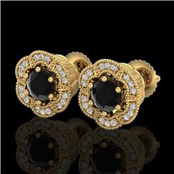1.51 CTW Fancy Black Diamond Solitaire Art Deco Stud Earrings 18K Yellow Gold - REF-89A3V - 37963