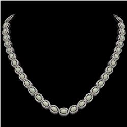 21.21 CTW Opal & Diamond Necklace White Gold 10K White Gold - REF-555K3W - 40808