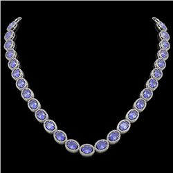 48.65 CTW Tanzanite & Diamond Necklace White Gold 10K White Gold - REF-797W3H - 40955