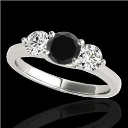 2 CTW Certified VS Black Diamond 3 Stone Solitaire Ring 10K White Gold - REF-177M3F - 35388