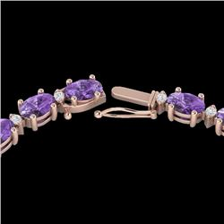 28 CTW Amethyst & VS/SI Diamond Certified Eternity Tennis Necklace 10K Rose Gold - REF-146N5A - 2158