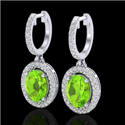 3.75 CTW Peridot & Micro Pave VS/SI Diamond Earrings Halo 18K White Gold - REF-105N5A - 20329