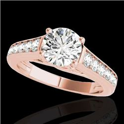 1.50 CTW H-SI/I Certified Diamond Solitaire Ring 10K Rose Gold - REF-272K7W - 34899
