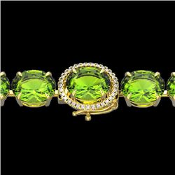 67 CTW Peridot & Micro Pave VS/SI Diamond Halo Bracelet 14K Yellow Gold - REF-428X7R - 22271