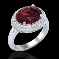4.50 CTW Garnet & Micro Pave VS/SI Diamond Certified Ring 18K White Gold - REF-98X4R - 20916