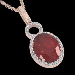4 CTW Garnet & Micro Pave Solitaire Halo VS/SI Diamond Necklace 14K Rose Gold - REF-45V3Y - 22762