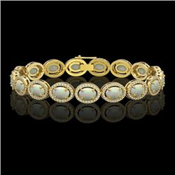 14.24 CTW Opal & Diamond Bracelet Yellow Gold 10K Yellow Gold - REF-298X2R - 41011