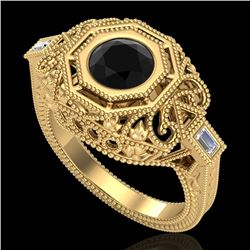 1.13 CTW Fancy Black Diamond Solitaire Engagement Art Deco Ring 18K Yellow Gold - REF-140N2A - 37823