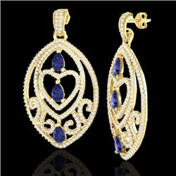 7 CTW Tanzanite & Micro Pave VS/SI Diamond Heart Earrings 18K Yellow Gold - REF-381R8K - 21164