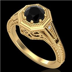 0.84 CTW Fancy Black Diamond Solitaire Engagement Art Deco Ring 18K Yellow Gold - REF-89X3R - 37928