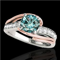 1.25 CTW SI Certified Fancy Blue Diamond Bypass Solitaire Ring 10K White & Rose Gold - REF-176M4F -
