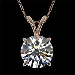 1.50 CTW Certified H-SI/I Quality Diamond Solitaire Necklace 10K Rose Gold - REF-322N5A - 33221