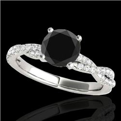1.25 CTW Certified VS Black Diamond Solitaire Ring 10K White Gold - REF-54R9K - 35235