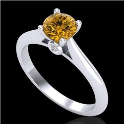 0.83 CTW Intense Fancy Yellow Diamond Engagement Art Deco Ring 18K White Gold - REF-145K5W - 38197