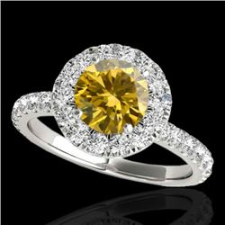 2 CTW Certified SI/I Fancy Intense Yellow Diamond Solitaire Halo Ring 10K White Gold - REF-227F3N -