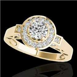 1.50 CTW H-SI/I Certified Diamond Solitaire Halo Ring 10K Yellow Gold - REF-180M2F - 34569