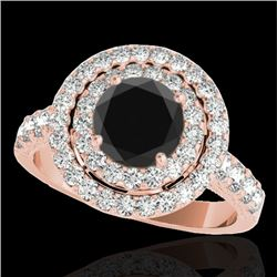 2.25 CTW Certified VS Black Diamond Solitaire Halo Ring 10K Rose Gold - REF-116Y9X - 34215