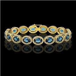 24.32 CTW London Topaz & Diamond Bracelet Yellow Gold 10K Yellow Gold - REF-256H7M - 41032