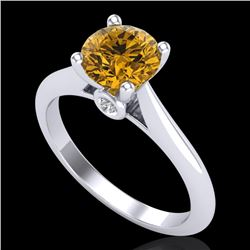 1.36 CTW Intense Fancy Yellow Diamond Engagement Art Deco Ring 18K White Gold - REF-227H3M - 38211