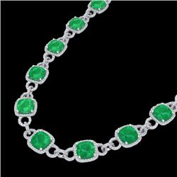 56 CTW Emerald & Micro VS/SI Diamond Certified Eternity Necklace 14K White Gold - REF-960F2N - 23041