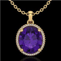 10 CTW Amethyst & Micro Pave VS/SI Diamond Halo Necklace 18K Yellow Gold - REF-78V2Y - 20602