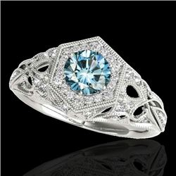 1.40 CTW SI Certified Fancy Blue Diamond Solitaire Antique Ring 10K White Gold - REF-200A2V - 34180