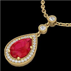 2.75 CTW Ruby & Micro Pave VS/SI Diamond Necklace Designer 18K Yellow Gold - REF-57K3W - 23139