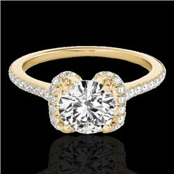 1.33 CTW H-SI/I Certified Diamond Solitaire Halo Ring 10K Yellow Gold - REF-163F5N - 33291