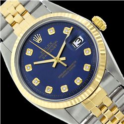 Rolex Men's Two Tone 14K Gold/SS, QuickSet, Diamond Dial with Fluted Bezel - REF-431K5T