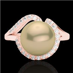 0.27 CTW VS/SI Diamond Certified &En Pearl Designer Ring 14K Rose Gold - REF-50N7A - 22619