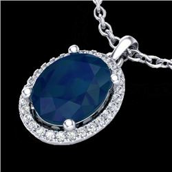 3 CTW Sapphire & Micro Pave VS/SI Diamond Certified Necklace Halo 18K White Gold - REF-59A3V - 21089