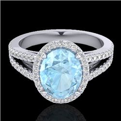 3 CTW Aquamarine & Micro VS/SI Diamond Halo Solitaire Ring 18K White Gold - REF-85R5K - 20930