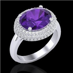 4 CTW Amethyst & Micro Pave VS/SI Diamond Certified Ring 18K White Gold - REF-98M5F - 20902