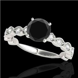 1.75 CTW Certified VS Black Diamond Solitaire Ring 10K White Gold - REF-68F7N - 34892