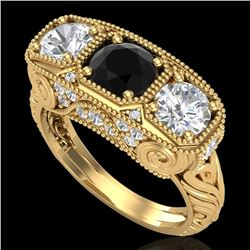 2.51 CTW Fancy Black Diamond Solitaire Art Deco 3 Stone Ring 18K Yellow Gold - REF-309N3A - 37718
