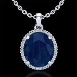 12 CTW Sapphire & Micro Pave VS/SI Diamond Halo Necklace 18K White Gold - REF-93R6K - 20616