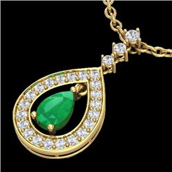 1.15 CTW Emerald & Micro Pave VS/SI Diamond Necklace Designer 14K Yellow Gold - REF-61R8K - 23167