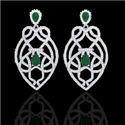 7 CTW Emerald & Micro VS/SI Diamond Heart Earrings Designer 14K White Gold - REF-381X8R - 21136
