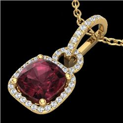 3.50 CTW Garnet & Micro VS/SI Diamond Certified Necklace 18K Yellow Gold - REF-63M3F - 22985