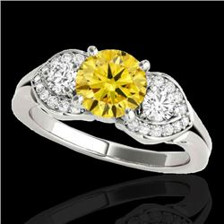 1.70 CTW Certified SI/I Fancy Intense Yellow Diamond 3 Stone Ring 10K White Gold - REF-305X5R - 3534
