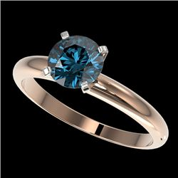 1.25 CTW Certified Intense Blue SI Diamond Solitaire Engagement Ring 10K Rose Gold - REF-179M3F - 32