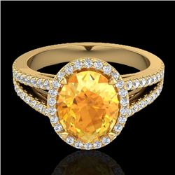 3 CTW Citrine & Micro VS/SI Diamond Halo Solitaire Ring 18K Yellow Gold - REF-70Y9X - 20937