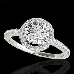 1.40 CTW H-SI/I Certified Diamond Solitaire Halo Ring 10K White Gold - REF-254W5H - 34096