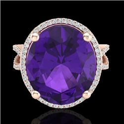 10 CTW Amethyst & Micro Pave VS/SI Diamond Certified Halo Ring 14K Rose Gold - REF-68A5V - 20951