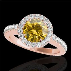 1.65 CTW Certified SI/I Fancy Intense Yellow Diamond Solitaire Halo Ring 10K Rose Gold - REF-259H3M