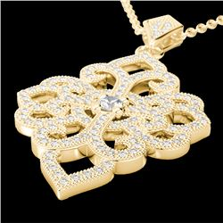1.40 CTW Micro Pave VS/SI Diamond Certified Designer Necklace 14K Yellow Gold - REF-130W9H - 22557