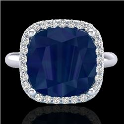 6 CTW Sapphire And Micro Pave Halo VS/SI Diamond Ring Solitaire 18K White Gold - REF-77F3N - 23104