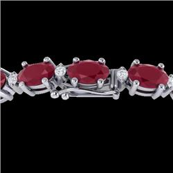 30.8 CTW Ruby & VS/SI Certified Diamond Eternity Bracelet 10K White Gold - REF-217F5N - 29459